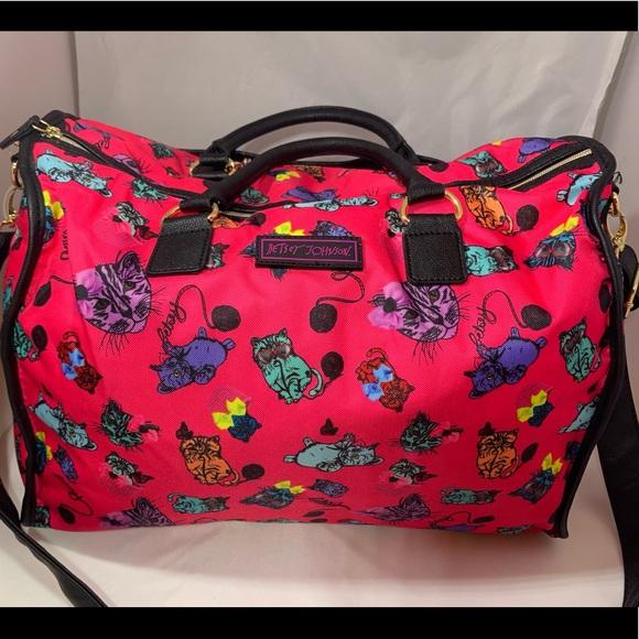 Betsey Johnson Handbags - Betsey Johnson's Kitten design Overnight Bag NWOT